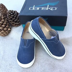DANSKO Kids navy blue Vesta Canvas clogs
